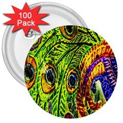 Peacock Feathers 3  Buttons (100 Pack)  by Simbadda