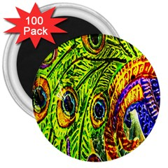Peacock Feathers 3  Magnets (100 Pack) by Simbadda