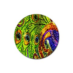 Peacock Feathers Rubber Coaster (round)  by Simbadda