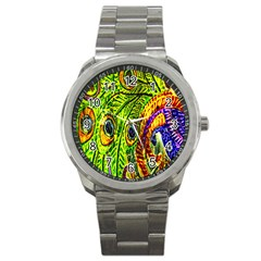 Peacock Feathers Sport Metal Watch by Simbadda