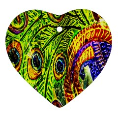 Peacock Feathers Heart Ornament (two Sides) by Simbadda