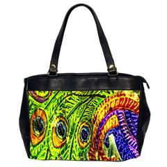 Peacock Feathers Office Handbags (2 Sides)  by Simbadda
