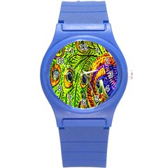 Peacock Feathers Round Plastic Sport Watch (s) by Simbadda