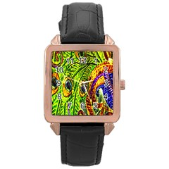 Peacock Feathers Rose Gold Leather Watch  by Simbadda