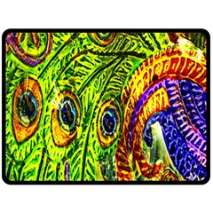 Peacock Feathers Double Sided Fleece Blanket (large)  by Simbadda