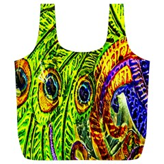 Peacock Feathers Full Print Recycle Bags (l)  by Simbadda