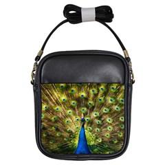 Peacock Bird Girls Sling Bags by Simbadda