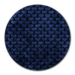 Scales3 Black Marble & Blue Stone (r) Round Mousepad