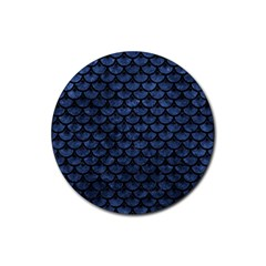 Scales3 Black Marble & Blue Stone (r) Rubber Coaster (round) by trendistuff