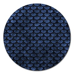 Scales3 Black Marble & Blue Stone (r) Magnet 5  (round) by trendistuff