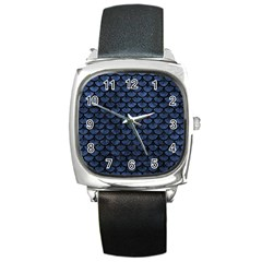 Scales3 Black Marble & Blue Stone (r) Square Metal Watch by trendistuff
