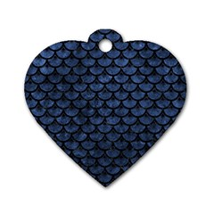 Scales3 Black Marble & Blue Stone (r) Dog Tag Heart (two Sides) by trendistuff