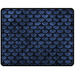 Scales3 Black Marble & Blue Stone (r) Fleece Blanket (medium) by trendistuff