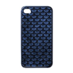 Scales3 Black Marble & Blue Stone (r) Apple Iphone 4 Case (black) by trendistuff