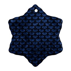 Scales3 Black Marble & Blue Stone (r) Ornament (snowflake) by trendistuff