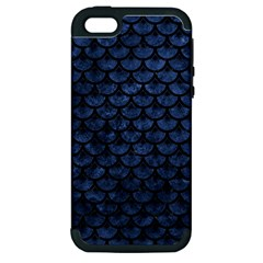 Scales3 Black Marble & Blue Stone (r) Apple Iphone 5 Hardshell Case (pc+silicone)