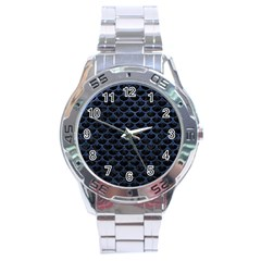 Scales3 Black Marble & Blue Stone Stainless Steel Analogue Watch by trendistuff