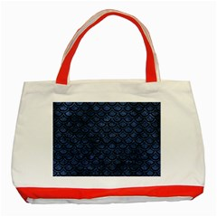 Scales2 Black Marble & Blue Stone (r) Classic Tote Bag (red) by trendistuff