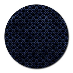 Scales2 Black Marble & Blue Stone Round Mousepad