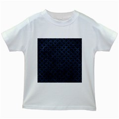 Scales2 Black Marble & Blue Stone Kids White T Shirt