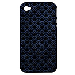 Scales2 Black Marble & Blue Stone Apple Iphone 4/4s Hardshell Case (pc+silicone) by trendistuff