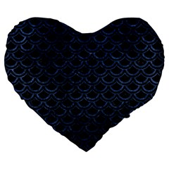 Scales2 Black Marble & Blue Stone Large 19  Premium Flano Heart Shape Cushion by trendistuff