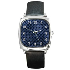 Scales1 Black Marble & Blue Stone (r) Square Metal Watch by trendistuff