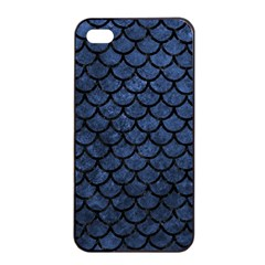Scales1 Black Marble & Blue Stone (r) Apple Iphone 4/4s Seamless Case (black) by trendistuff