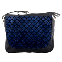 Scales1 Black Marble & Blue Stone (r) Messenger Bag by trendistuff