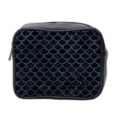 Scales1 Black Marble & Blue Stone Mini Toiletries Bag (two Sides) by trendistuff