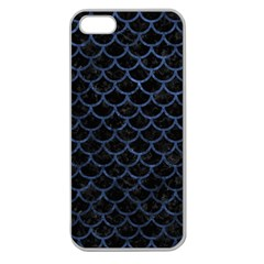 Scales1 Black Marble & Blue Stone Apple Seamless Iphone 5 Case (clear) by trendistuff