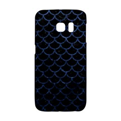 Scales1 Black Marble & Blue Stone Samsung Galaxy S6 Edge Hardshell Case by trendistuff