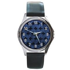 Royal1 Black Marble & Blue Stone Round Metal Watch by trendistuff