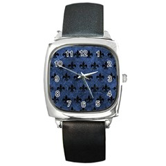 Royal1 Black Marble & Blue Stone Square Metal Watch by trendistuff