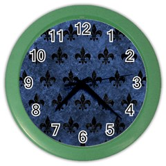 Royal1 Black Marble & Blue Stone Color Wall Clock