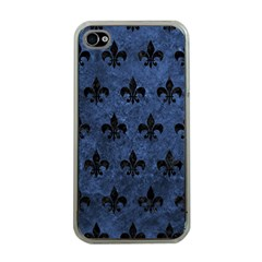 Royal1 Black Marble & Blue Stone Apple Iphone 4 Case (clear) by trendistuff