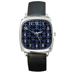 Puzzle1 Black Marble & Blue Stone Square Metal Watch by trendistuff