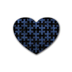 Puzzle1 Black Marble & Blue Stone Rubber Coaster (heart) by trendistuff