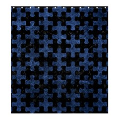Puzzle1 Black Marble & Blue Stone Shower Curtain 66  X 72  (large) by trendistuff