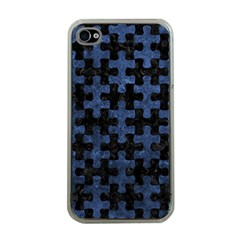 Puzzle1 Black Marble & Blue Stone Apple Iphone 4 Case (clear) by trendistuff
