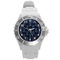 Puzzle1 Black Marble & Blue Stone Round Plastic Sport Watch (l) by trendistuff