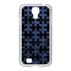 Puzzle1 Black Marble & Blue Stone Samsung Galaxy S4 I9500/ I9505 Case (white) by trendistuff