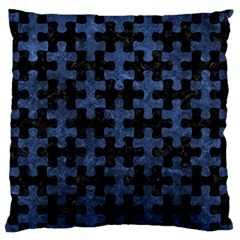 Puzzle1 Black Marble & Blue Stone Large Flano Cushion Case (two Sides) by trendistuff