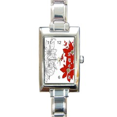 Poinsettia Flower Coloring Page Rectangle Italian Charm Watch by Simbadda