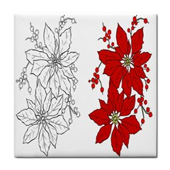 Poinsettia Flower Coloring Page Tile Coasters by Simbadda