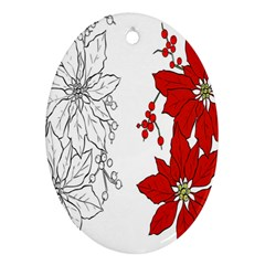 Poinsettia Flower Coloring Page Ornament (oval) by Simbadda