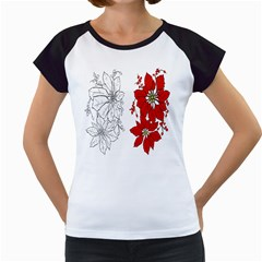Poinsettia Flower Coloring Page Women s Cap Sleeve T by Simbadda