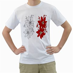 Poinsettia Flower Coloring Page Men s T Shirt (white) (two Sided) by Simbadda