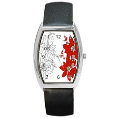 Poinsettia Flower Coloring Page Barrel Style Metal Watch by Simbadda