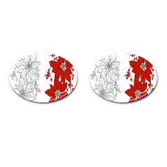 Poinsettia Flower Coloring Page Cufflinks (oval) by Simbadda